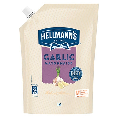 Hellmann's Garlic Mayonnaise 12x1kg - Hellmann's Garlic Mayonnaise delivers a well balanced garlic flavour that enhances the taste of your dishes.
