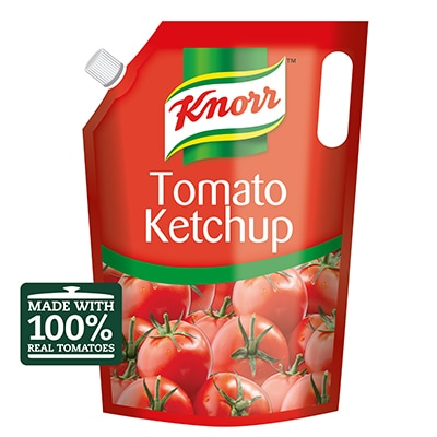 Knorr Professional Tomato Ketchup (4x4kg) - Knorr Tomato Ketchup contains up to 65* tomatoes per 4 kg pouch